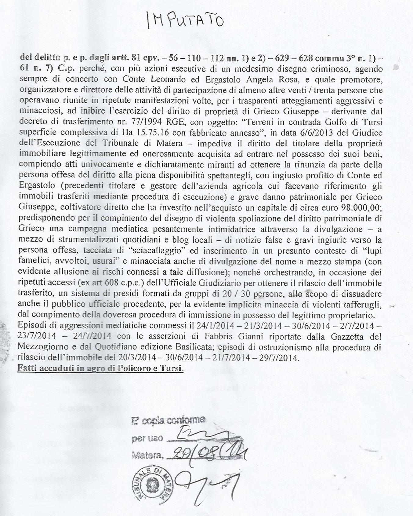 Le accuse della Procura della Repubblica di Matera a Fabbris