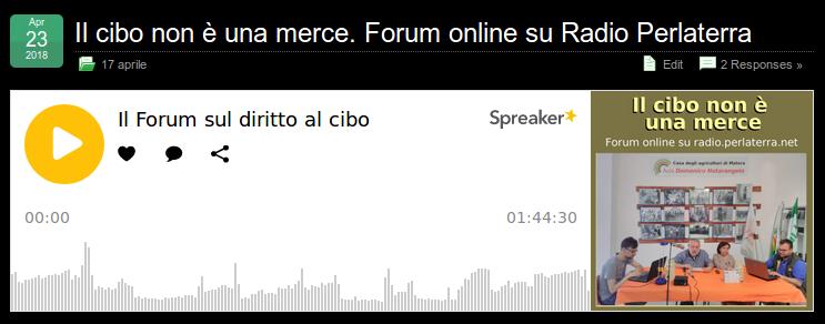 Vai alla pagina del Forum con il podcast della trasmissione