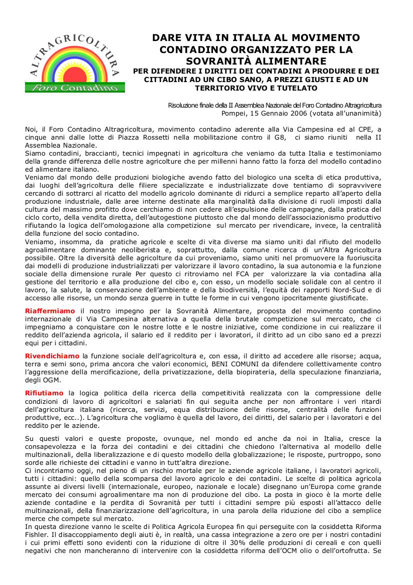 Risoluzione finale assemblea pompei 2006 - pag.1